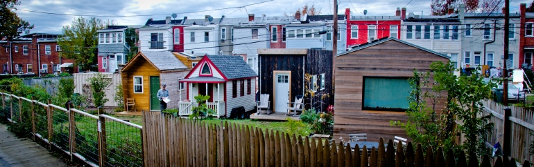 Boneyard Studios: (L-R) Lee's Pera House, Elaine's Lusby, Jay's Matchbox, and Brian's Minim House.