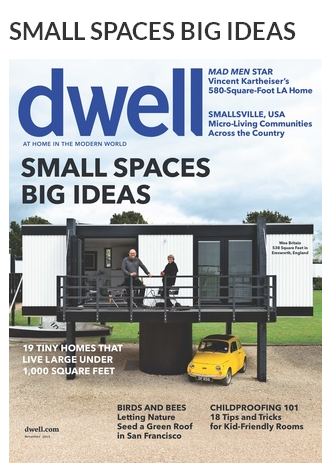 Screenshot of Dwell print magazine cover: Small Spaces, Big Ideas.