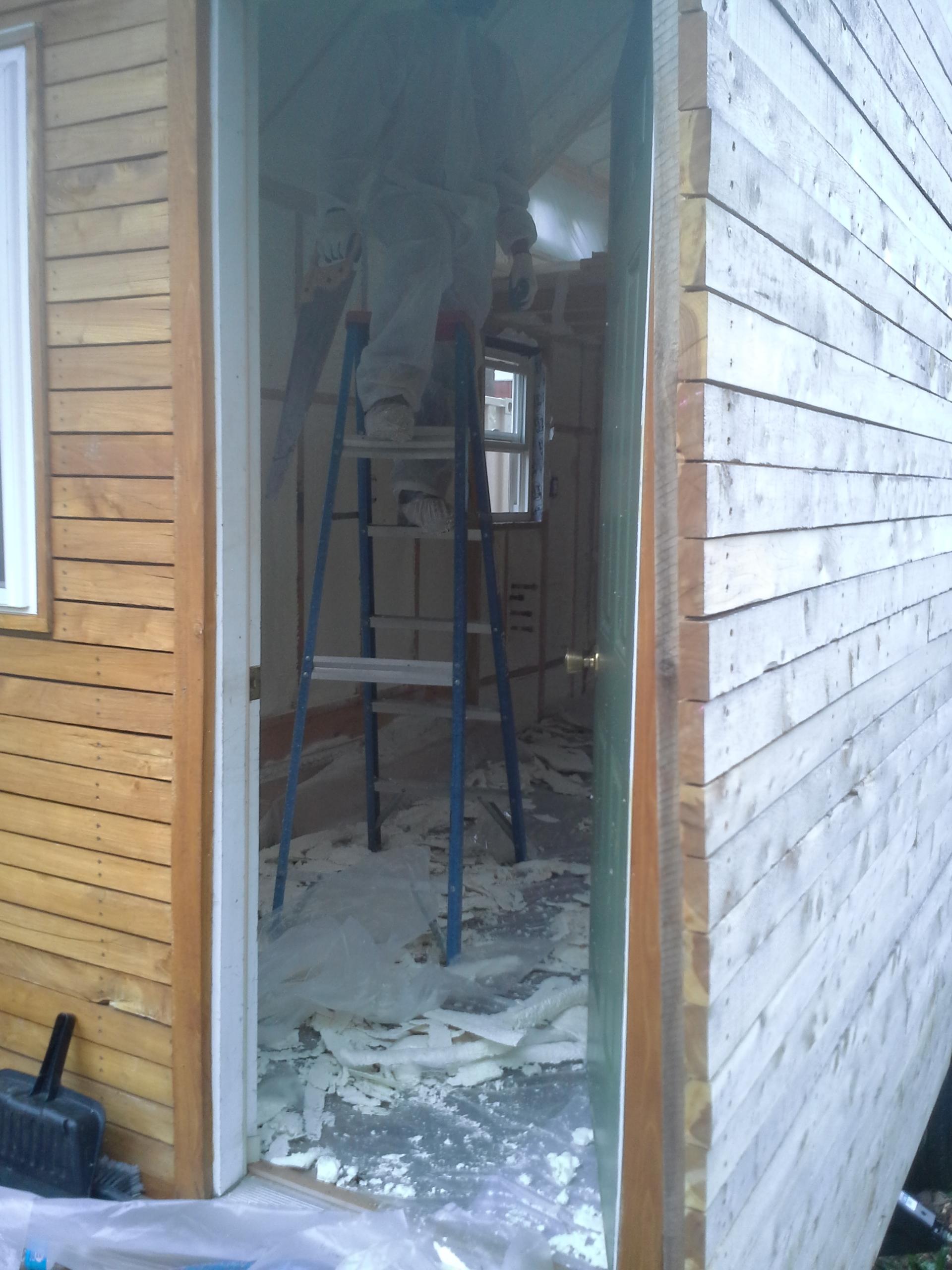 Foam insulation being installed